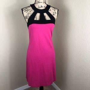 Trina Turk Black Pink Cutout Shoulder Dress 12